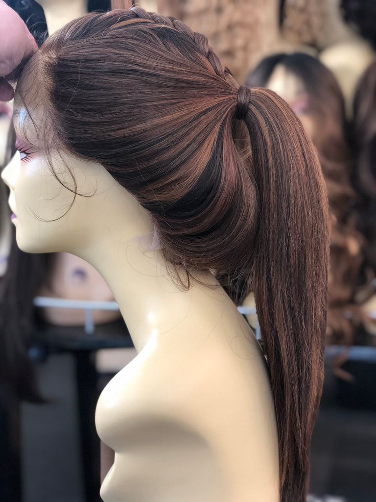 Heidi Ponytail Wig Bleach Knots Realistic Looking Wig