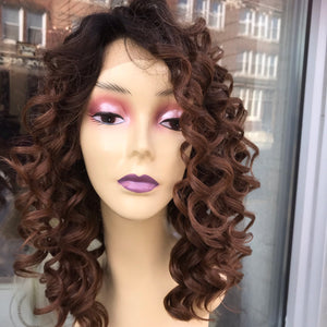 Curly ombré honey brown 13X6 Freepart Wig