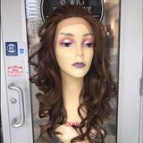 Wig Copper warm brown Lacefront Freepart Curly Wig