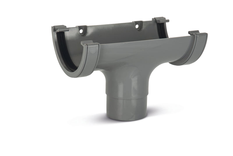 RWO1- Marshall Tufflex Half Round 114mm Gutter Running Outlet - To Fit 68mm Round Pipe