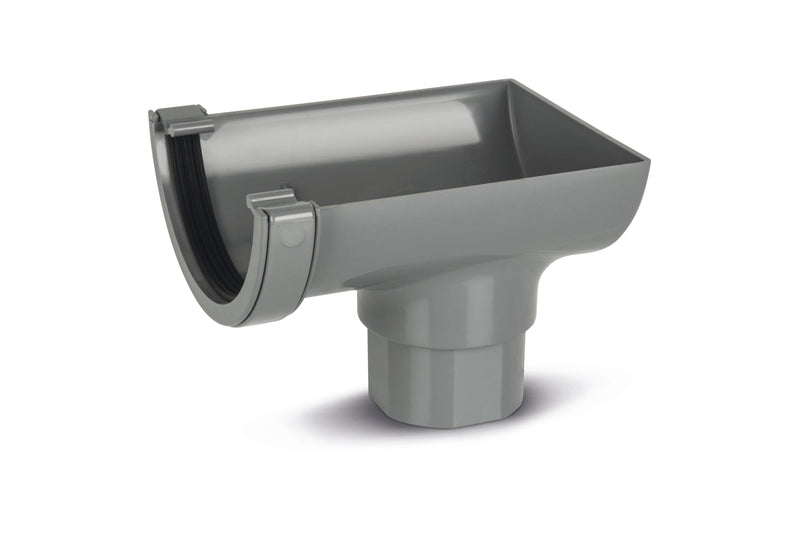RWO2- Marshall Tufflex Half Round 114mm Gutter Stopend Outlet - To Fit 68mm Round Pipe