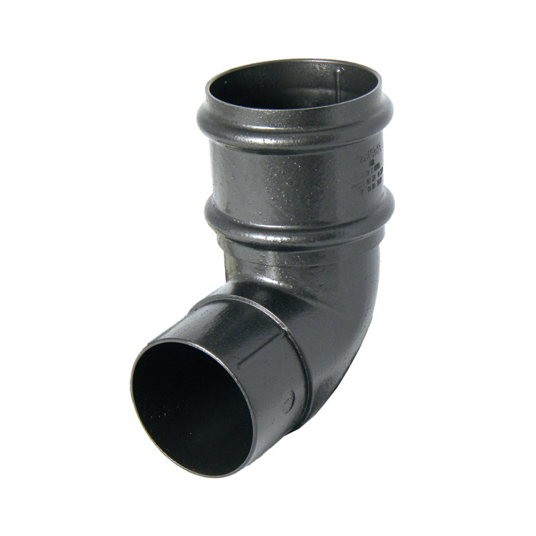 "RB8CI -Floplast ""Cast Iron"" Style Round 68mm Downpipe Offset Bend 92.5 Degree x 68mm"