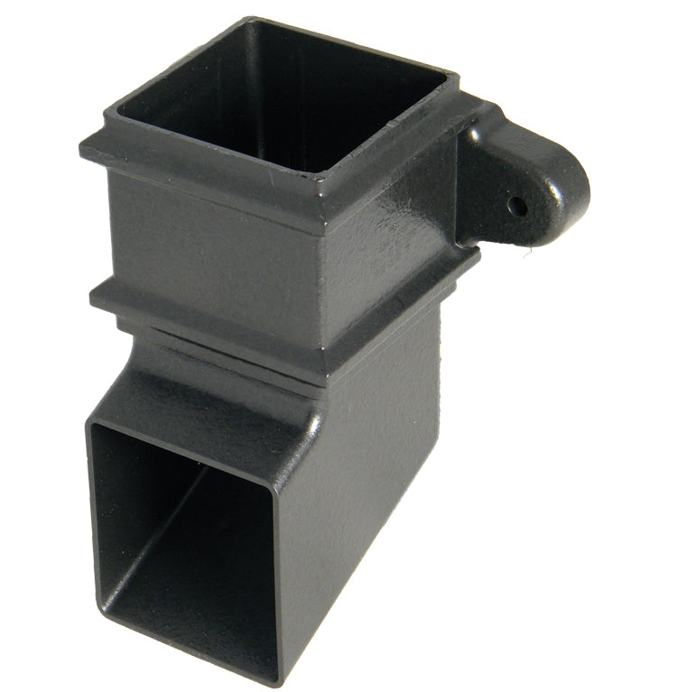 "RBS4CI - Floplast ""Cast Iron"" Style Square 65mm Downpipe Shoe with Fixing Lugs"