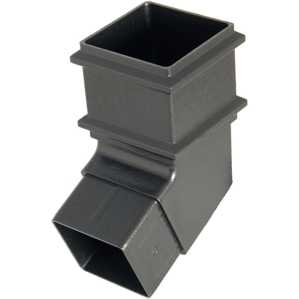 "RBS6CI - Floplast  ""Cast Iron"" Style Square 65mm Downpipe Offset Set Bend 112.5 Degree x 65mm"