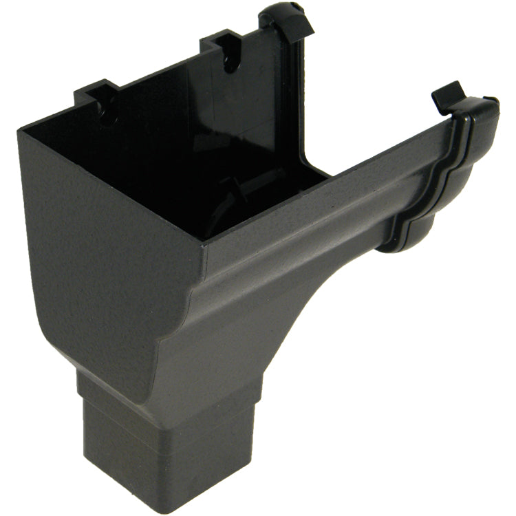 "RON2CI -Floplast ""Cast Iron"" Style Niagara Stopend Outlet Left Handed - Connects to 65mm Square Downpipe"
