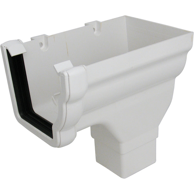 RON3 - Floplast 110mm Niagara Ogee Stopend Outlet Right Handed - Connects to 65mm Square Downpipe