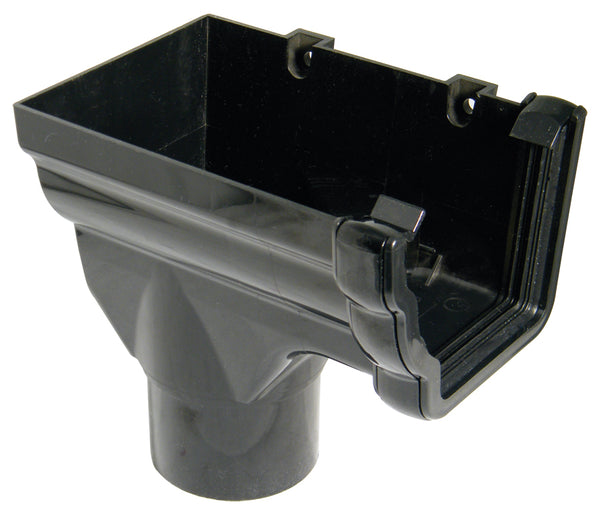 RON5 - Floplast 110mm Niagara Stopend Outlet Left Handed - Connects to 80mm Round Downpipe