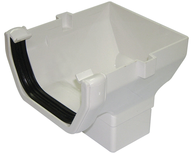ROS2 - Floplast 114mm Square Line Stopend Outlet - Connects to 65mm Square Downpipe
