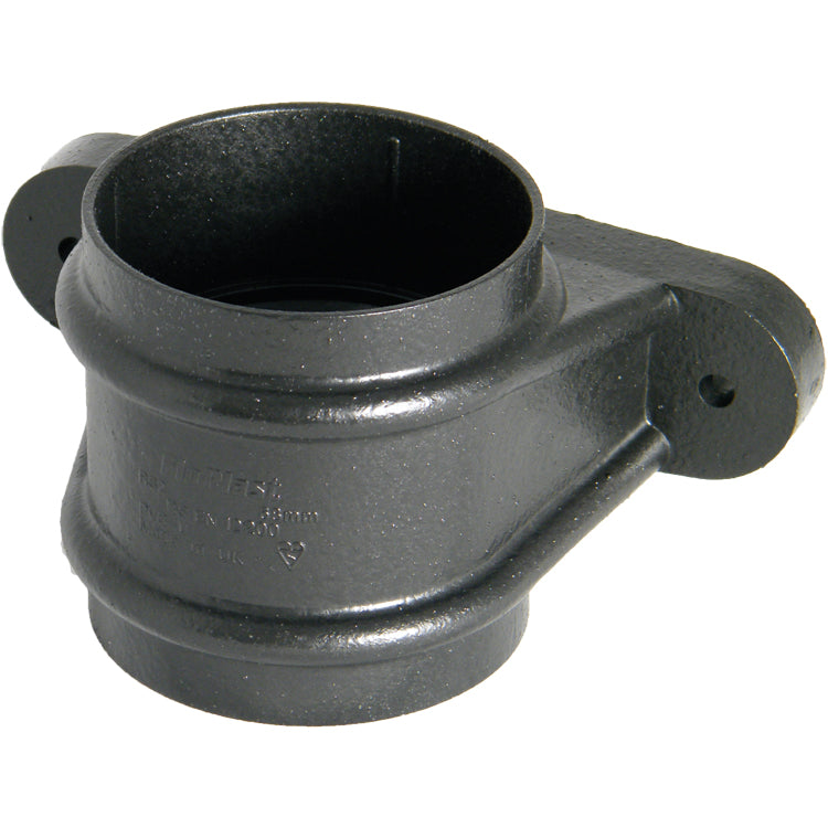 "RS2CI - Floplast ""Cast Iron"" Style 68mm Round Downpipe Pipe Socket With Fixing Lugs"