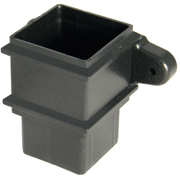 "RSS2CI - Floplast ""Cast Iron"" Style 65mm Square Downpipe Pipe Socket With Fixing  Lugs"