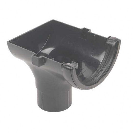 RO2 -Floplast 112mm Half Round Stopend Outlet  - Connects to 68mm Round Downpipe