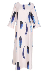 Bohemian Striped Bell Sleeve Floral Print Maxi Dresses Vintage Dress