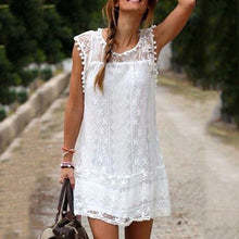 Load image into Gallery viewer, Round Neck  Tassel  Lace Plain Casual Mini Dresses