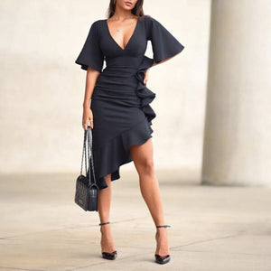 Sexy Short Sleeves Plain Bodycon Dress