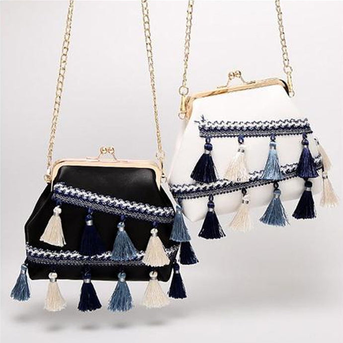 Shell-Shaped Tassel Crossbody Bag