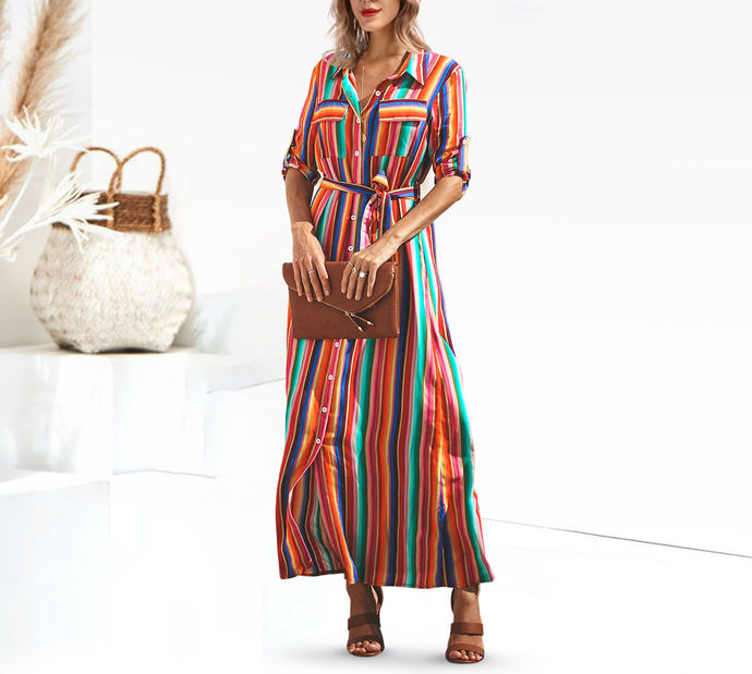 Button Down Collar  Stripes  Roll Up Sleeve  Half Sleeve Maxi Vacation Dresses