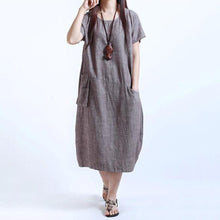 Load image into Gallery viewer, Round Neck Patch Pocket Plain Cotton/Linen Maxi Dress Vintage Dress