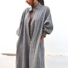 Load image into Gallery viewer, Sexy Stripe Long Sleeves Maxi Dress Vintage Dress