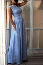 Load image into Gallery viewer, Elegant High-Waisted Pocket Holiday Maxi Dress Vintage Dress