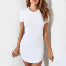 Load image into Gallery viewer, Round Neck  Curved Hem  Plain Bodycon Dresses