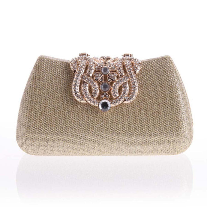 Gold Plant Diamante Clutch Bag