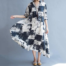 Load image into Gallery viewer, V-Neck Abstract Print Pocket Cotton/Linen Maxi Dress Vintage Dress
