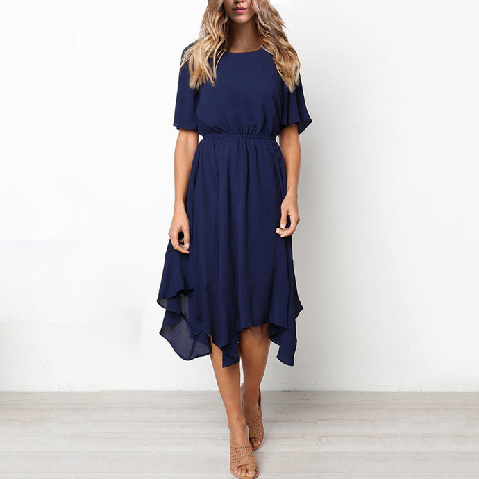 Short Sleeve Elastic Waist Chiffon Irregular Hem Swing Casual Dress