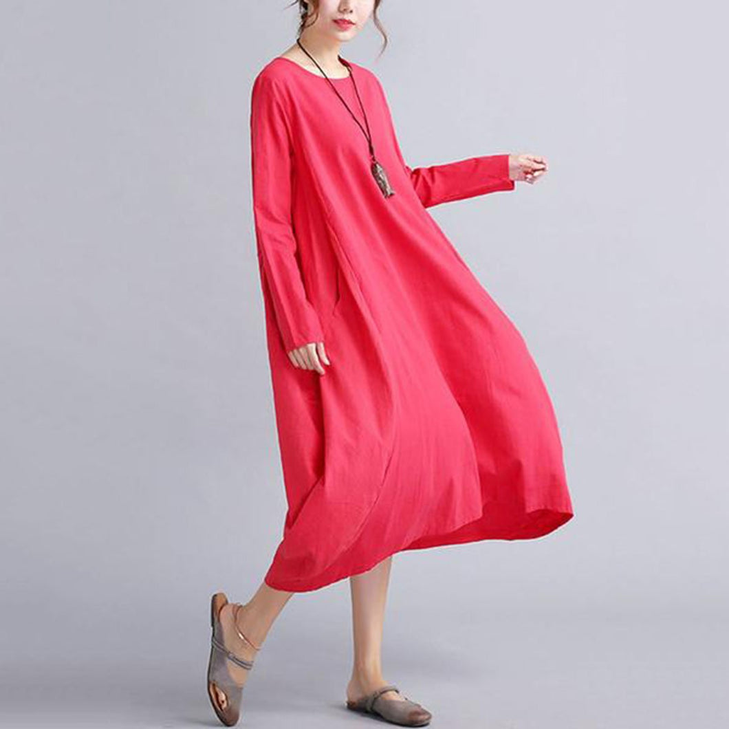 Oversized Round Neck Pocket  Plain Maxi Dress Vintage Dress