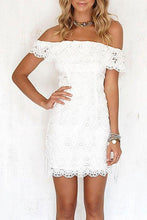 Load image into Gallery viewer, Lace Off Shoulder Flounce Bodycon Dress