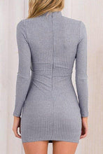 Load image into Gallery viewer, Gray V Neck Plain Sheath Bodycon Dresses