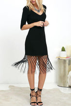 Load image into Gallery viewer, V Neck Tassel Backless Plain Bodycon Dress