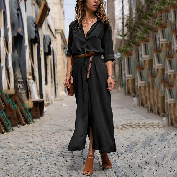 Fashionable Loose Long Sleeved Maxi Dress Vintage Dress