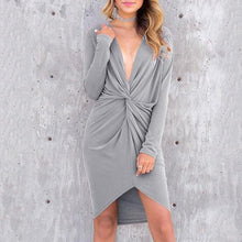 Load image into Gallery viewer, Sexy V-Neck Cross Irregular Self-Cultivation Bodycon Dress