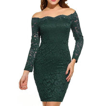 Load image into Gallery viewer, Open Shoulder  Plain  Long Sleeve Bodycon Dresses