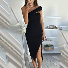 Load image into Gallery viewer, Strapless  Asymmetric Hem Slit  Plain  Bodycon Dresses