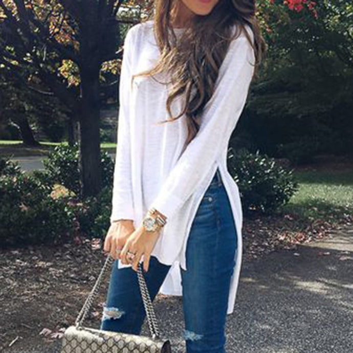 Fashion Plain Long Sleeve T-Shirt