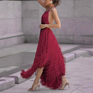 Sexy Backless Sleeveless Tassel Maxi Dress