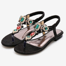 Load image into Gallery viewer, Vintage Bohemian Flats Exquisite Rhinestone Beaded Flip Sandals