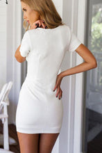 Load image into Gallery viewer, V Neck  Asymmetric Hem  Plain  Short Sleeve Bodycon Dresses
