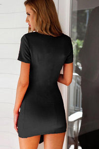 V Neck  Asymmetric Hem  Plain  Short Sleeve Bodycon Dresses