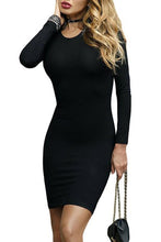 Load image into Gallery viewer, Round Neck Cross Straps Hollow Out Bodycon Dress