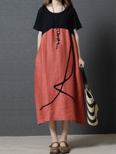 Load image into Gallery viewer, Loose Round Neck Pocket Color Block Vintage Dress Maxi Dress