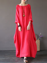 Load image into Gallery viewer, Round Neck Pocket Plain Maxi Dress Vintage Dress