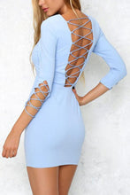Load image into Gallery viewer, Round Neck  Backless Cross Straps  Hollow Out Plain Bodycon Dresses