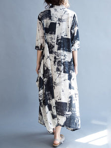 V-Neck Abstract Print Pocket Cotton/Linen Maxi Dress Vintage Dress