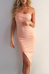Strapless  Asymmetric Hem Slit  Plain  Bodycon Dresses