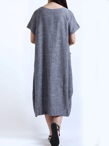 Round Neck Patch Pocket Plain Cotton/Linen Maxi Dress Vintage Dress
