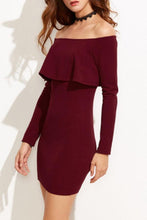 Load image into Gallery viewer, Off Shoulder  Flounce  Plain Bodycon Dresses