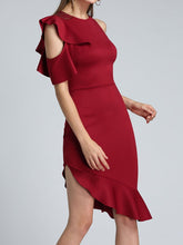 Load image into Gallery viewer, Crew Neck  Asymmetric Hem  Plain Bodycon Dress