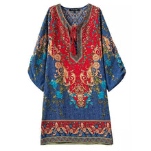 Load image into Gallery viewer, Ethnic Style Printed Streamers Vacation Dress With Plus Size